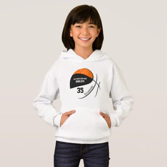 black orange girls' basketball team colors hoodie