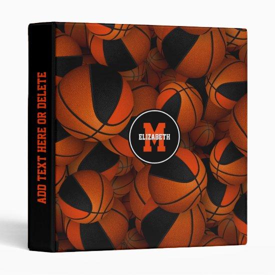 black orange girls boys team colors basketballs 3 ring binder