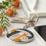 """black orange girls&#39; volleyball keychain team name<br><div class=""""desc"""">This volleyball keychain with custom team and school mascot name features a floral kaleidoscopic pattern blended with the black and orange volleyball panels and an artsy abstract swirl pattern blended with the white panels - her name and team name are customizable, as is her jersey number on a tiny white...</div>"""