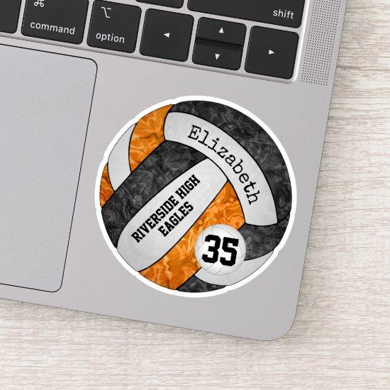 black orange girls volleyball w school mascot name sticker