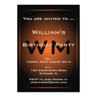 Black & Orange Glow Monogram Sci-fi - Invitation