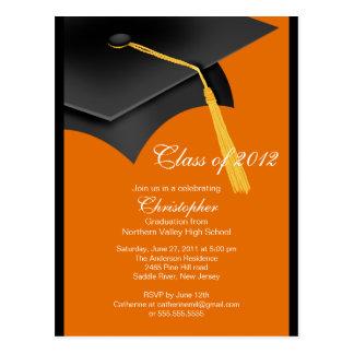 Black Orange Grad Cap Graduation Party Invitation Postcard