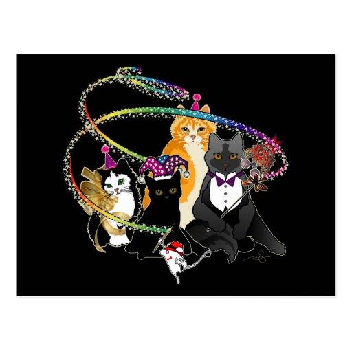 Black, Orange & Gray Party Cats Postcard