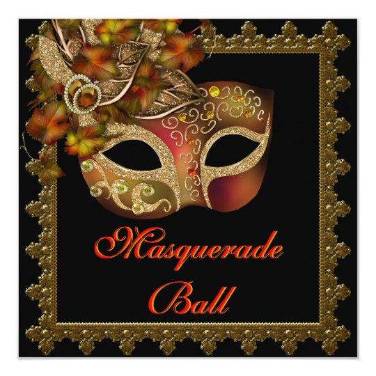 Black Orange Halloween Masquerade Party Card