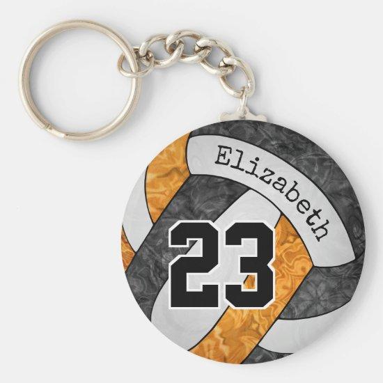 black orange her volleyball team colors custom keychain