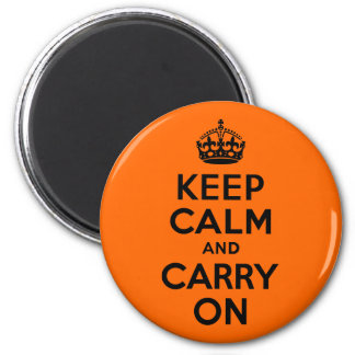 Black Orange Keep Calm and Carry On 2 Inch Round Magnet