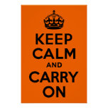 Black Orange Keep Calm and Carry On Print