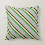 [ Thumbnail: Black, Orange, Light Cyan, Forest Green, and Grey Throw Pillow ]