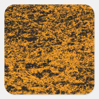 Black & Orange Marble Square Sticker