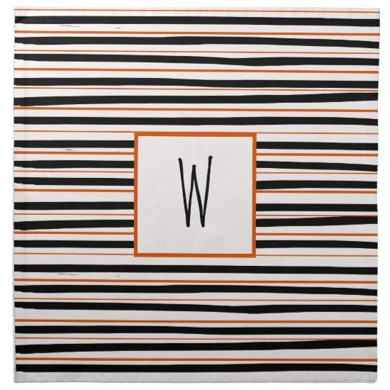 Black Orange Messy Stripes Fun Farmhouse Halloween Cloth Napkin