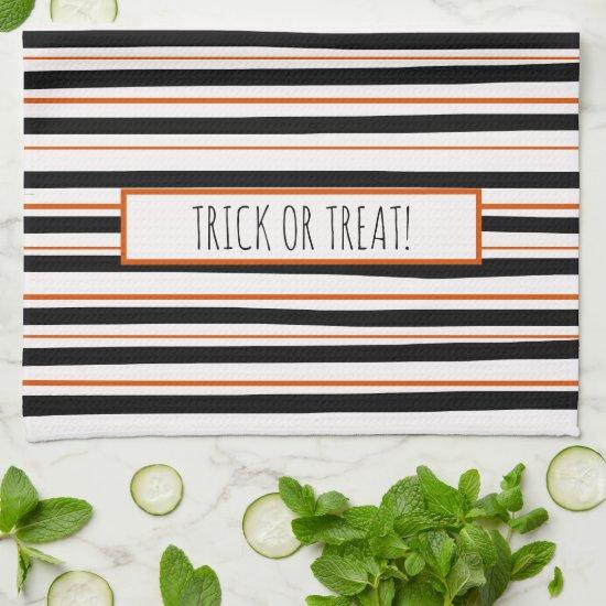 Black Orange Messy Stripes Fun Farmhouse Halloween Hand Towel