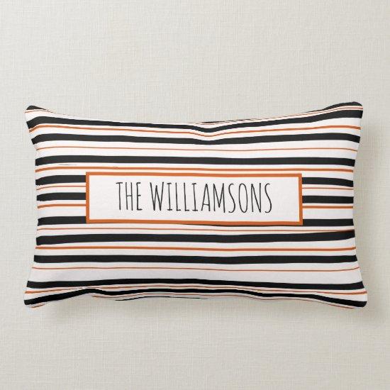 Black Orange Messy Stripes Fun Farmhouse Halloween Lumbar Pillow
