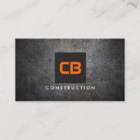 Black/Orange Monogram Grunge Metal Construction Business Card