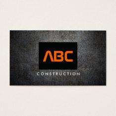 Black/orange Monogram Grunge Metal Construction Ii Business Card at Zazzle