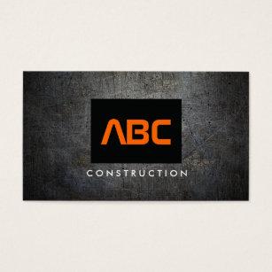 Black and orange business cards templates zazzle blackorange monogram grunge metal construction ii business card colourmoves