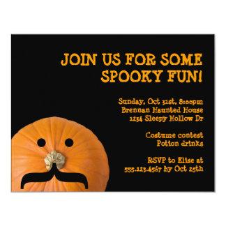 Black orange mustache pumpkin host Halloween party Card