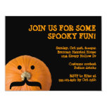 Black orange mustache pumpkin host Halloween party Announcement
