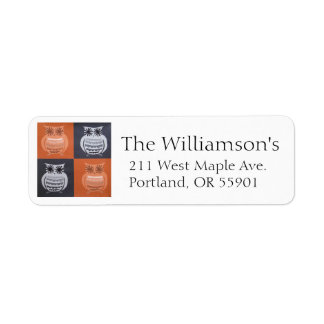 Black & Orange owl address labels