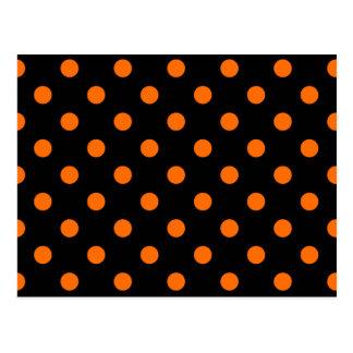 Black Orange Polk-a-dots Post Cards