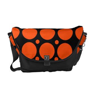 Black Orange Polka Dots Rickshaw Messenger Bag