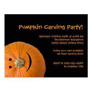 Black orange pumpkin Halloween party invitation Postcard