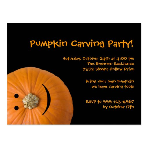 Black orange pumpkin Halloween party invitation Post Cards