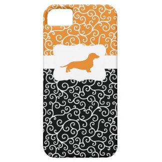 Black&Orange remolina w/Dachshund iPhone 5 Coberturas