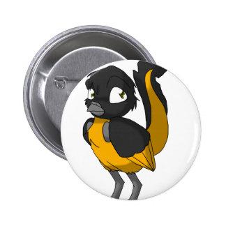 Black/Orange Reptilian Bird 2 Inch Round Button