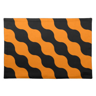 Black, Orange Retro Circles Art Pattern Cloth Placemat