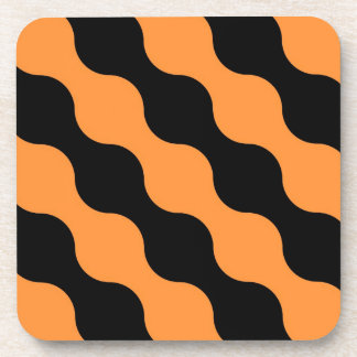 Black, Orange Retro Circles Art Pattern Coasters