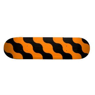 Black, Orange Retro Circles Art Pattern Skateboard