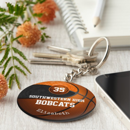 black orange school colors girls' basketball team keychain