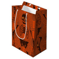 Black & Orange Skeletons Halloween Gift Bag Medium Gift Bag