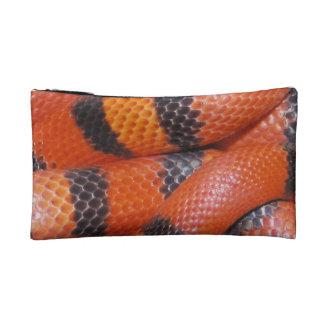 Black Orange Snake Pattern Cosmetic, Accessory Bag
