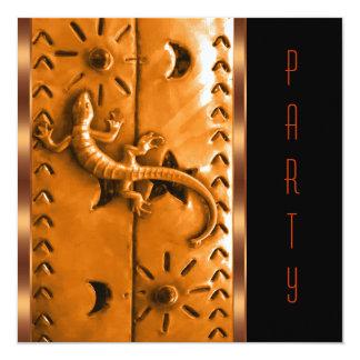 Black Orange Southwestern Lizard Birthday Party Personalized Invitations