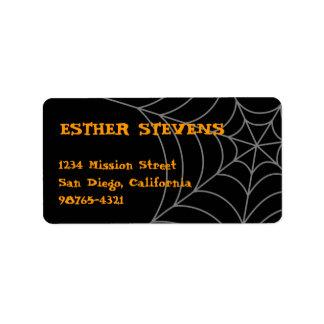 Black orange spider web Halloween return address Personalized Address Label