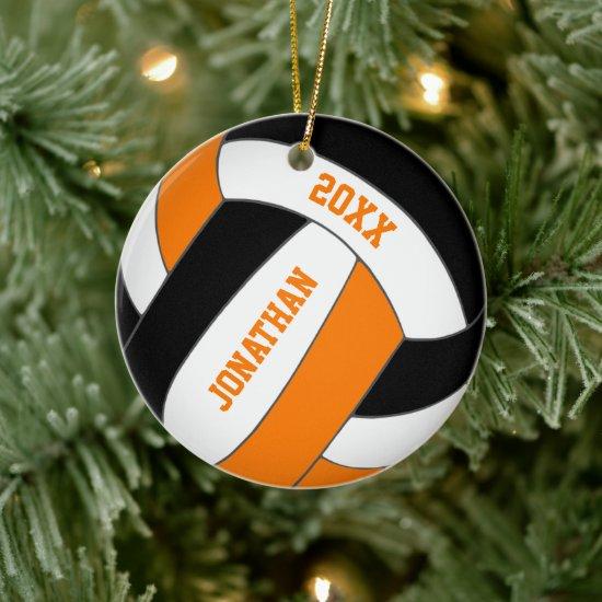 black orange sports team colors boys volleyball ceramic ornament