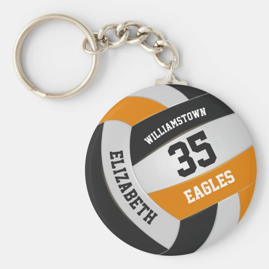 black orange sports team girls boys volleyball keychain