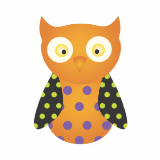Black / Orange Spotted Owl Cutout
