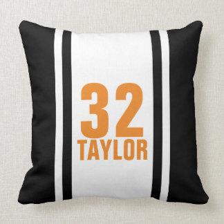 Black & Orange Striped Sports Jersey Throw Pillow