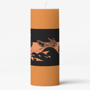 Beach Themed Black Orange Surfer  Candle