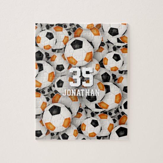 black orange team colors boys girls soccer jigsaw puzzle