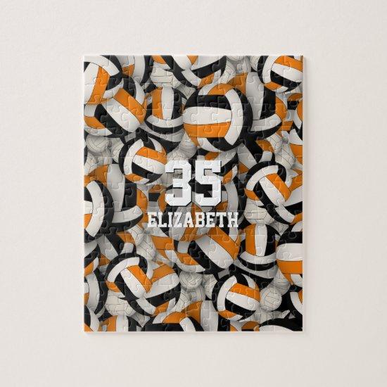 black orange team colors girls boys volleyball jigsaw puzzle