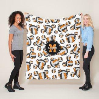 black orange team colors girls sports volleyball fleece blanket