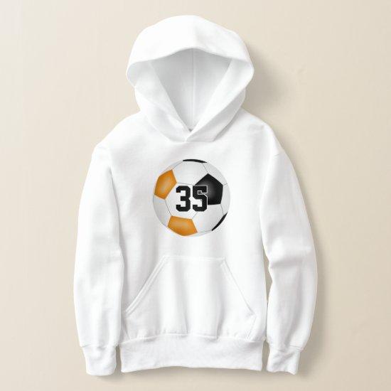 black orange team colors jersey number soccer hoodie