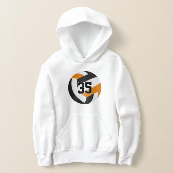 black orange team colors jersey number volleyball hoodie