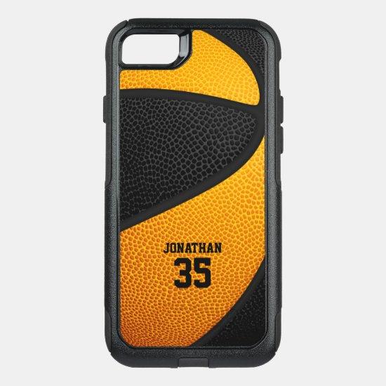 black orange team colors personalized basketball OtterBox commuter iPhone SE/8/7 case
