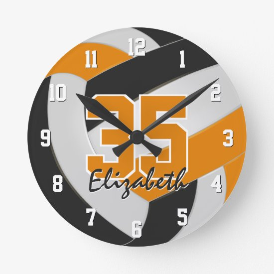 black orange team colors players name volleyball round clock