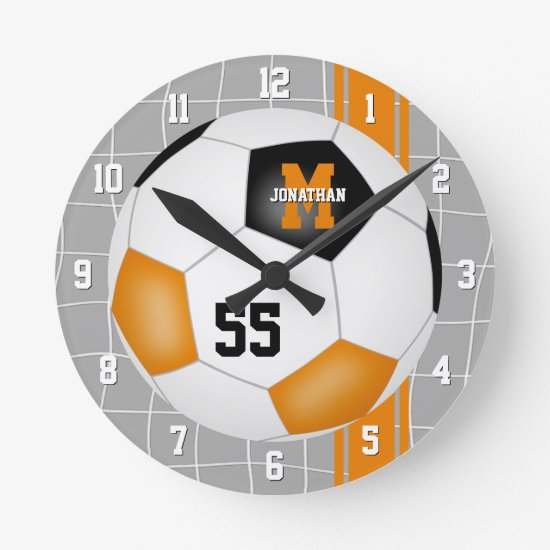 black orange team colors varsity stripes soccer round clock