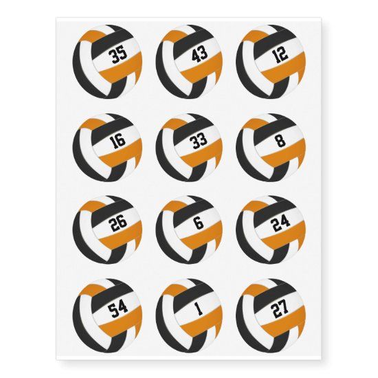 black orange team colors volleyballs jersey number temporary tattoos
